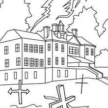 Dibujo para colorear : casa solariega encantada
