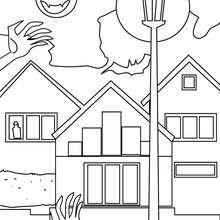 Dibujo para colorear casa privada encantada - Dibujos para Colorear y Pintar - Dibujos para colorear FIESTAS - Dibujos para colorear HALLOWEEN - Dibujos para colorear CASA ENCANTADA