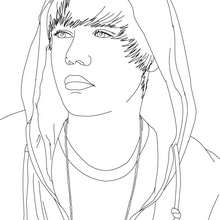 Dibujo para colorear : Retrato de Justin Bieber