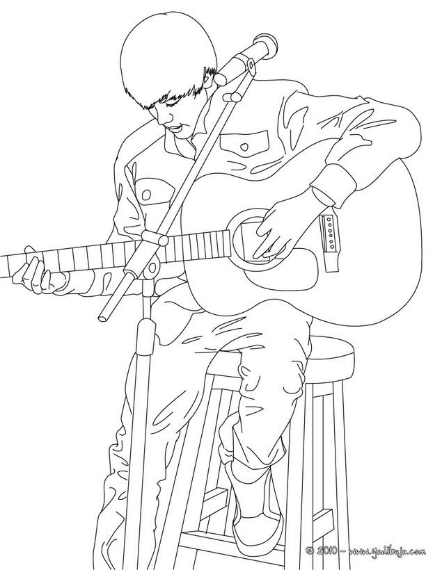 Dibujo de Justin Bieber tocando guitarra - JUSTIN BIEBER para colorear