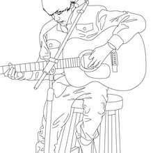 Dibujo para colorear : Justin Bieber tocando guitarra
