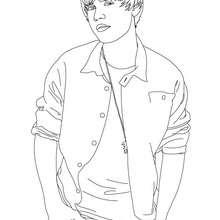 Dibujo para colorear : el guapo Justin Bieber