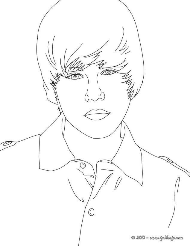 Dibujos para colorear justin bieber sentado - es.hellokids.com
