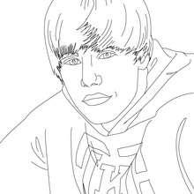 Dibujo para colorear : un retrato de Justin Bieber
