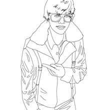 Dibujo para colorear : Justin Bieber con gafas
