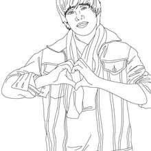 Dibujo del corazon de Justin Bieber - Dibujos para Colorear y Pintar - Dibujos para colorear FAMOSOS - JUSTIN BIEBER para colorear