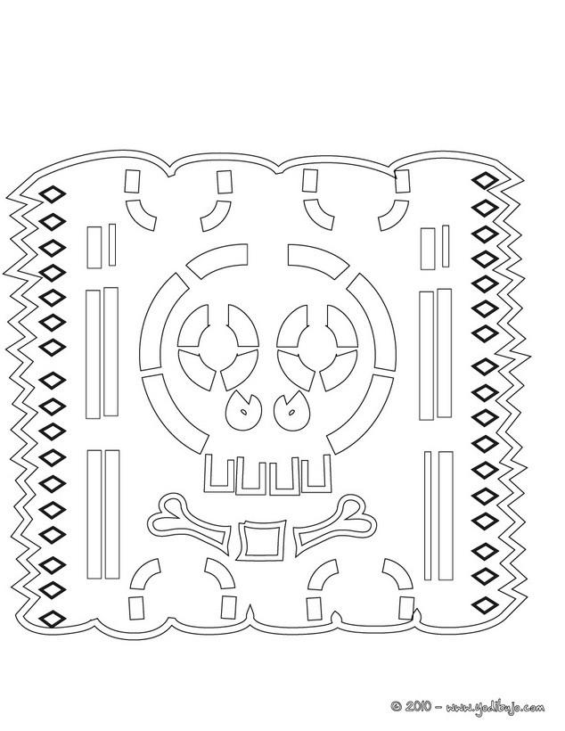 Dibujos para colorear papel picado con calavera - es.hellokids.com