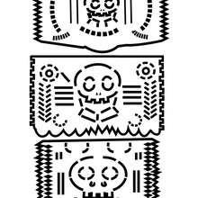 Dibujo para colorear guirnalda de papel picado - Dibujos para Colorear y Pintar - Dibujos para colorear FIESTAS - Dibujos para colorear DIA DE MUERTOS
