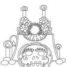 Dibujo para colorear : altar con calavera del dia de los muertos