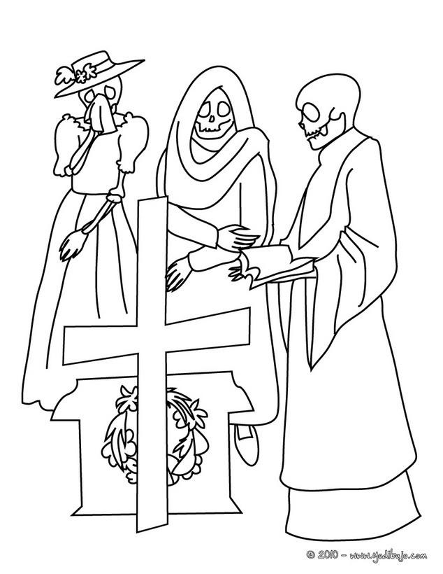 Dibujo para colorear : escena del dia de los muertos con calaveras y la catrina
