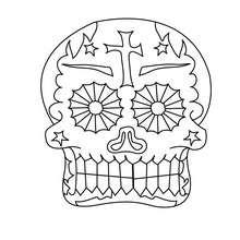 Dibujo para colorear : una calavera decorada mexicana para el dia de los muertos