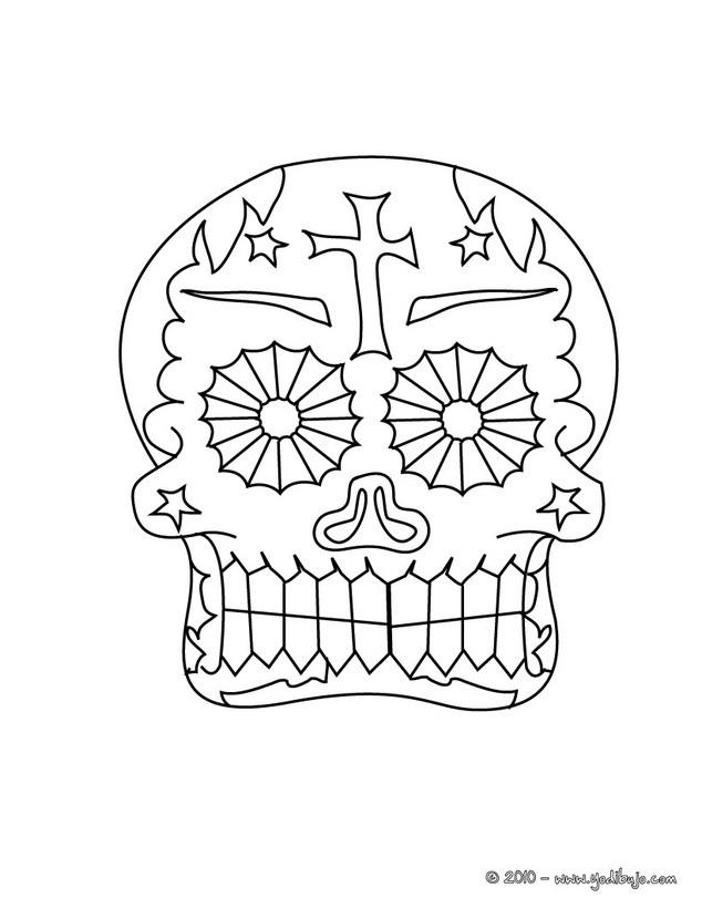 Dibujo para colorear  una calavera decorada mexicana para el dia de los muertos