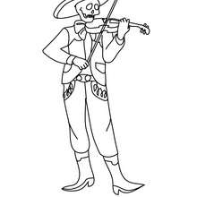 Dibujo para colorear : un mariachi esqueleto para el dia de los muertos
