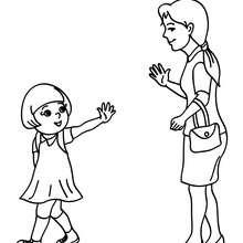 Dibujo para colorear : deuna mama dejando a su hija a la escuela