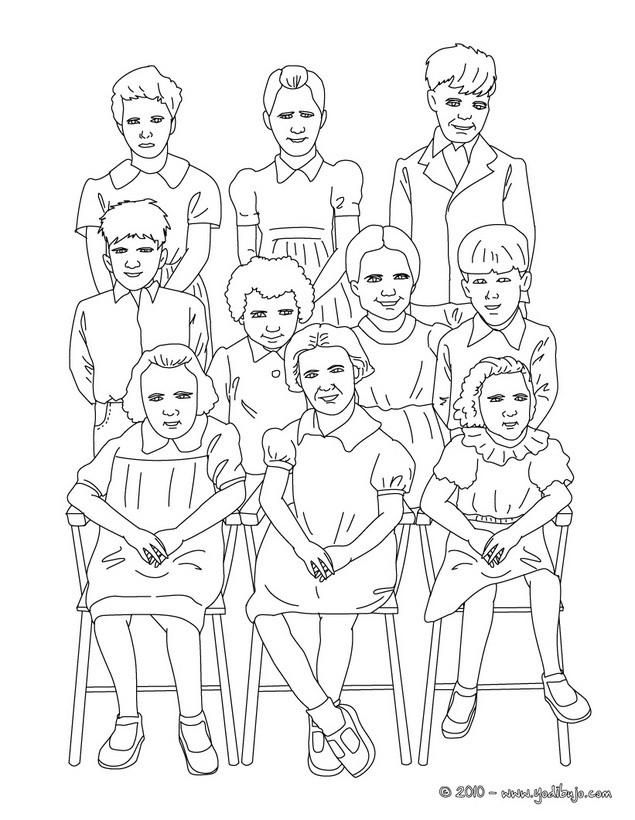 Dibujo para colorear : foto del curso de primaria