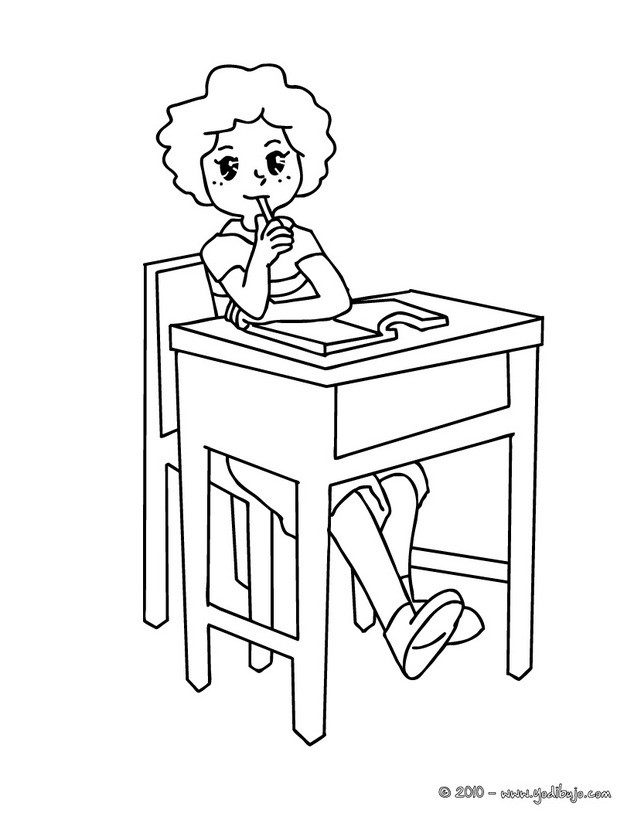Dibujo para colorear : alumna pensando