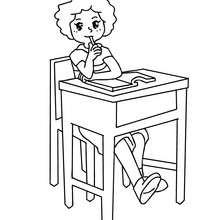 Dibujo para colorear alumna pensando - Dibujos para Colorear y Pintar - Dibujos para colorear de la ESCUELA - Dibujos para colorear MAESTROS y ALUMNOS a la escuela