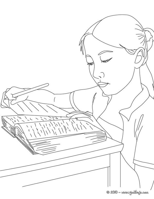 Dibujos para colorear alumna buscando en el diccionario - es ...