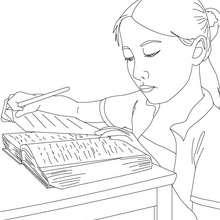 Dibujo para colorear alumna buscando en el diccionario - Dibujos para Colorear y Pintar - Dibujos para colorear de la ESCUELA - Dibujos para colorear MAESTROS y ALUMNOS a la escuela