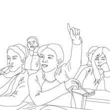 Dibujo para colorear una alumna levantando la mano - Dibujos para Colorear y Pintar - Dibujos para colorear de la ESCUELA - Dibujos para colorear MAESTROS y ALUMNOS a la escuela