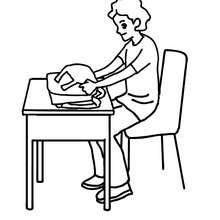 Dibujo para colorear alumno abriendo su mochila - Dibujos para Colorear y Pintar - Dibujos para colorear de la ESCUELA - Dibujos para colorear MAESTROS y ALUMNOS a la escuela