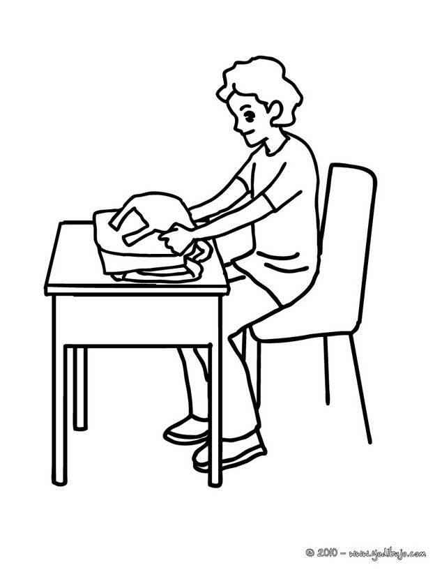 Dibujo para colorear alumno abriendo su mochila - Dibujos para ...
