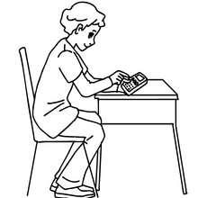 Dibujo para colorear alumno utilizando su claculadora - Dibujos para Colorear y Pintar - Dibujos para colorear de la ESCUELA - Dibujos para colorear MAESTROS y ALUMNOS a la escuela