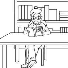 Dibujo para colorear alumna en la biblioteca - Dibujos para Colorear y Pintar - Dibujos para colorear de la ESCUELA - Dibujos para colorear MAESTROS y ALUMNOS a la escuela
