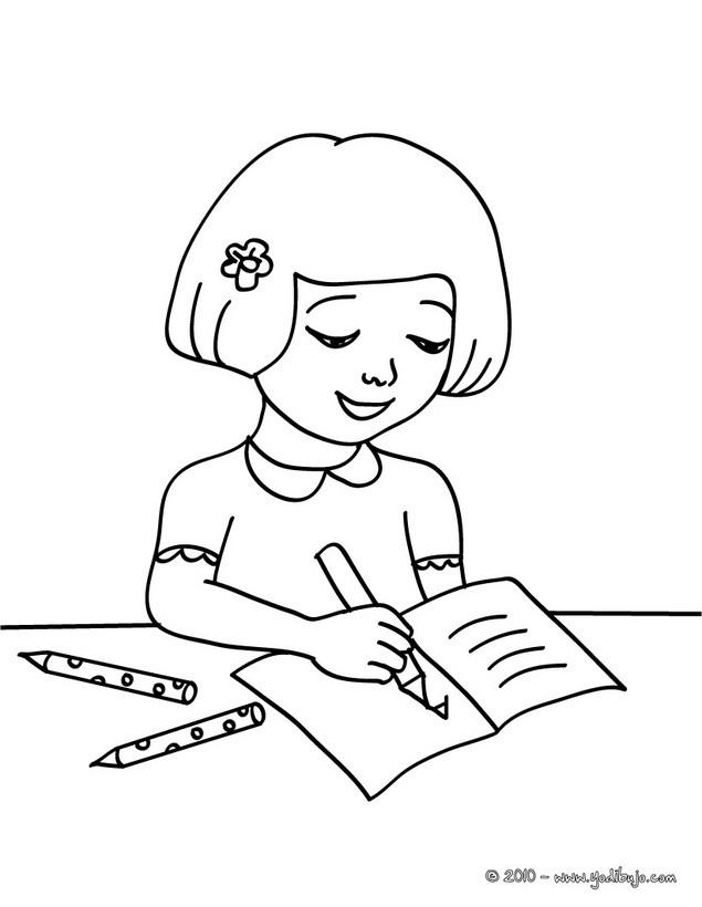 Dibujos para colorear alumna escribiendo en la pizarra - es ...