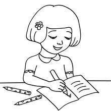 Dibujo para colorear una alumna escribiendo - Dibujos para Colorear y Pintar - Dibujos para colorear de la ESCUELA - Dibujos para colorear MAESTROS y ALUMNOS a la escuela