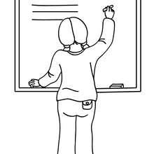 Dibujo para colorear alumna escribiendo en la pizarra - Dibujos para Colorear y Pintar - Dibujos para colorear de la ESCUELA - Dibujos para colorear MAESTROS y ALUMNOS a la escuela