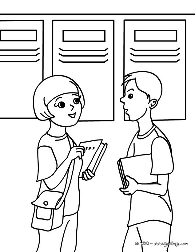 Dibujo para colorear : alumnos hablando