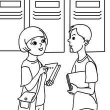 Dibujo para colorear alumnos hablando - Dibujos para Colorear y Pintar - Dibujos para colorear de la ESCUELA - Dibujos para colorear MAESTROS y ALUMNOS a la escuela