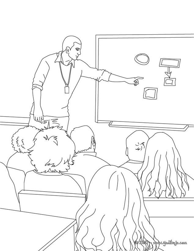 Dibujo para colorear : alumnos y profesor