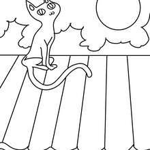 Dibujo para colorear : un gato negro en un techo