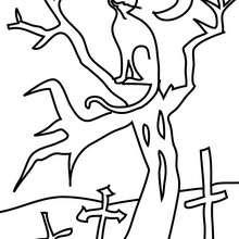 Dibujo para colorear : un gato negro en un cementario