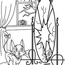 Dibujo para colorear : un gato negro con un espejo roto