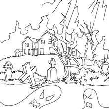 dibujo para colorear casa perdida encantada - Dibujos para Colorear y Pintar - Dibujos para colorear FIESTAS - Dibujos para colorear HALLOWEEN - Dibujos para colorear CASA ENCANTADA