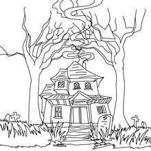 Dibujo para colorear vieja casa encantada - Dibujos para Colorear y Pintar - Dibujos para colorear FIESTAS - Dibujos para colorear HALLOWEEN - Dibujos para colorear CASA ENCANTADA
