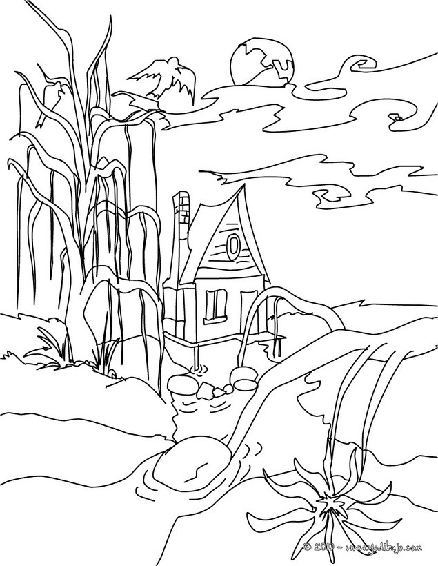 Decoración de la casa externa: Casa en el bosque para colorear linea