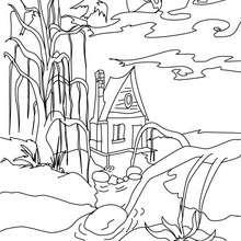 Dibujo para colorear : una casa encantada en el bosque