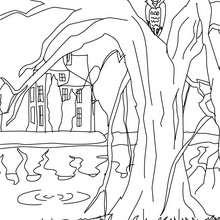 Dibujo de una residencia encantada para colorear - Dibujos para Colorear y Pintar - Dibujos para colorear FIESTAS - Dibujos para colorear HALLOWEEN - Dibujos para colorear CASA ENCANTADA
