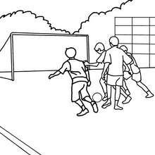 Dibujo para colorear : niños en el patio de recreo