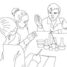 Dibujo para colorear clase de ciencia - Dibujos para Colorear y Pintar - Dibujos para colorear de la ESCUELA - Dibujos para colorear CLASES
