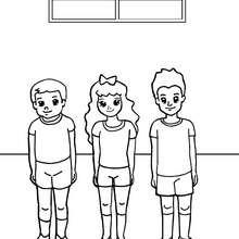 Dibujo para colorear clase de deporte - Dibujos para Colorear y Pintar - Dibujos para colorear de la ESCUELA - Dibujos para colorear CLASES