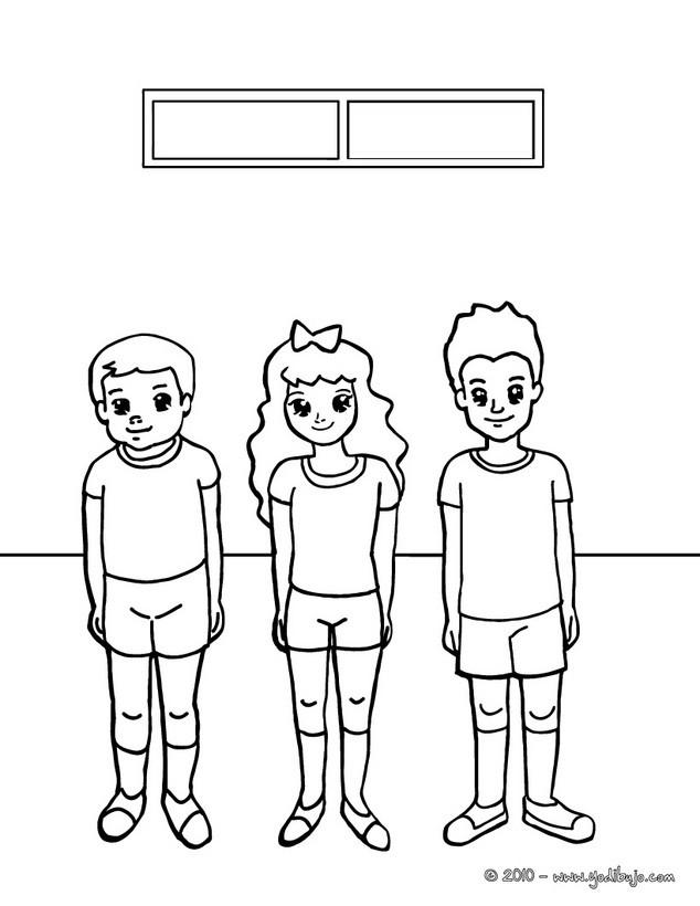 Dibujo para colorear clase de deporte - Dibujos para colorear CLASES