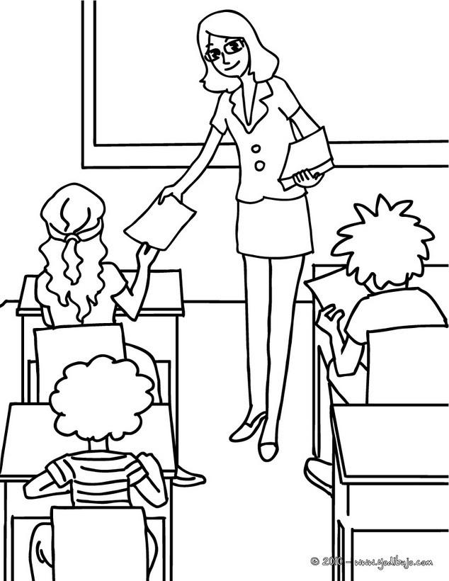 Dibujos para colorear clase de examenes   es.hellokids.com