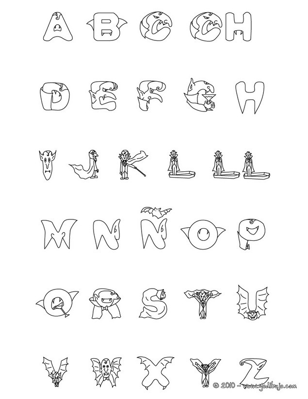 Dibujos para colorear abecedario vampiro - es.hellokids.com