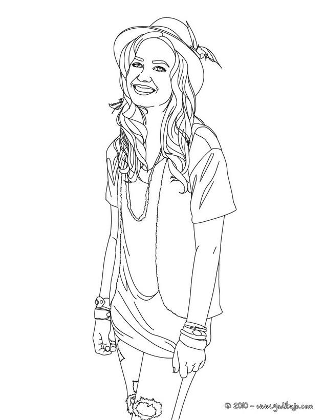 Dibujos para colorear demi lovato con un sombrero - es.hellokids.com