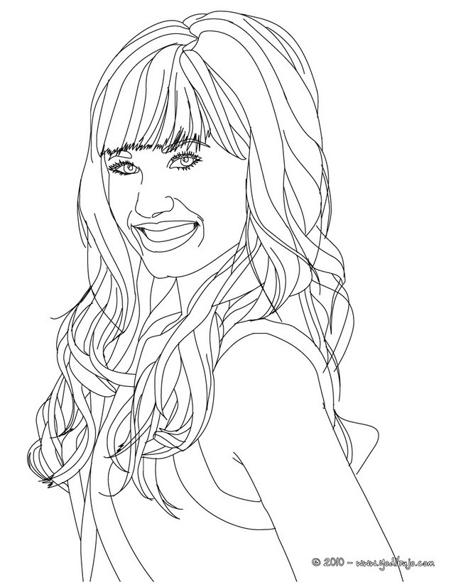Dibujos para colorear demi lovato sonriendo - es.hellokids.com